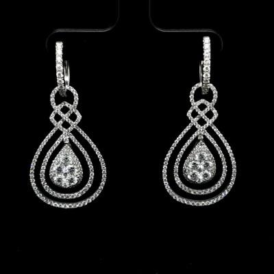 Long Diamond Earrings Pear Shape