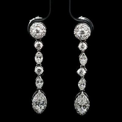 Long Diamond Earrings with Marquise and Brilliant Cut