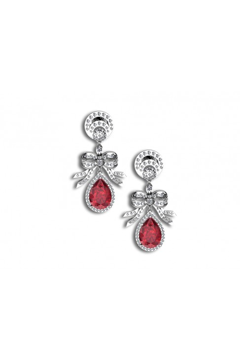 18K Ribbon Inspired Ruby Dangling Earrings