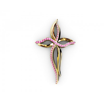 18k Rose Quartz Cross Gold Pendant