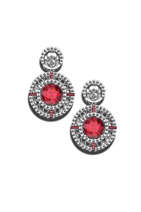 18K Ruby White Gold Earrings