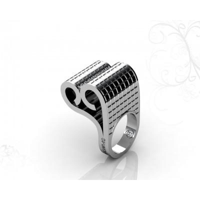 Эксклюзивное дизайнерское кольцо из белого золота 18К