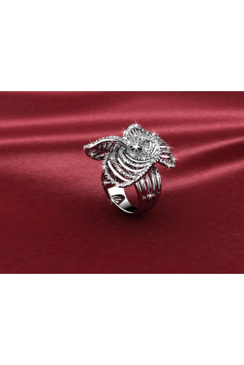 18K Spring Flower Design White Gold Ring