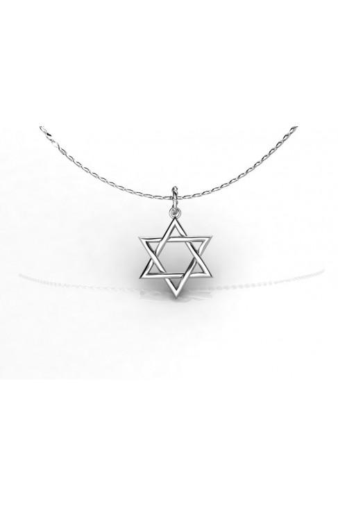 Pendiente en Oro Blanco 18K - Estrella de david