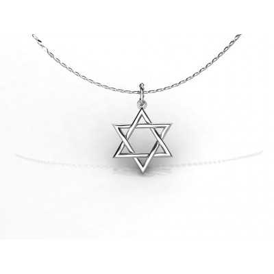 18 K Star of David White Gold Pendant