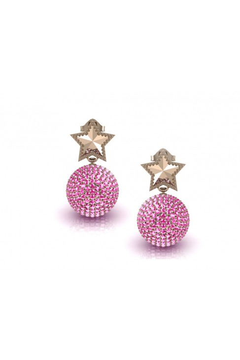 18k star pink quartz gold earrings