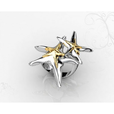 18k Starfish Shaped Designer Ring