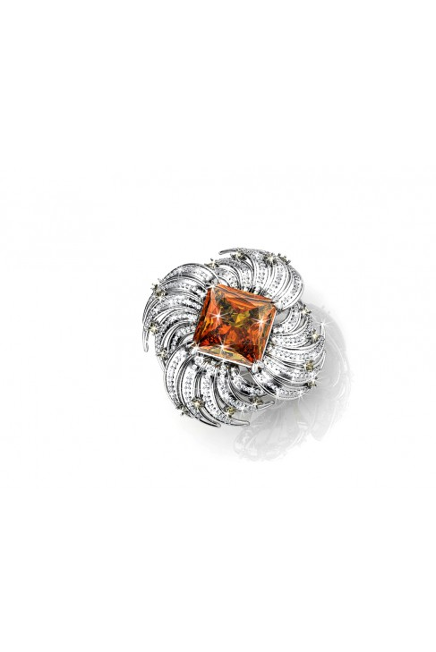 18K topaz whirlwind white gold ring