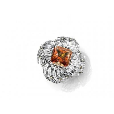 anillo de oro blanco con topazio en talla princesa y brillantes