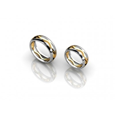 18K two-toned wedding rings
