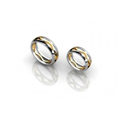 Комбинированные обручальные кольца из золота 18 карат