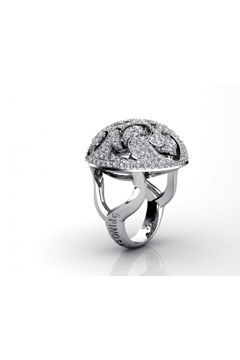 18k white gold 177 brilliants pave ring