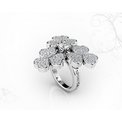 18k White Gold 3-Clover Design Ring