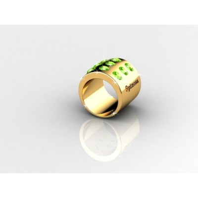 9-peridot yellow gold ring