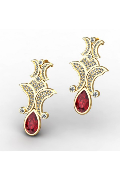 Adorable Earrings with Rubies and Diamonds