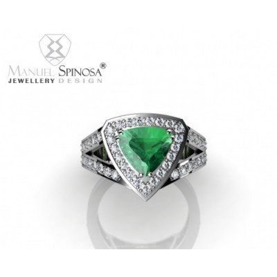 Adorable Modern Ring With Green Quartz and 42 Brilliants