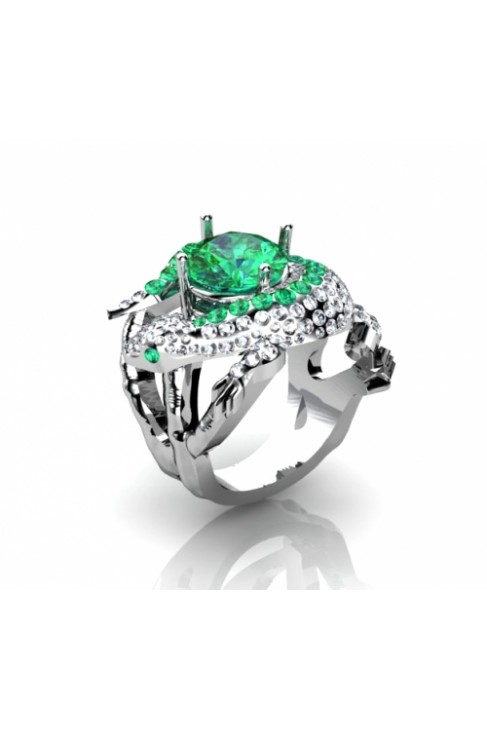 Amazing Reptile-Shaped Ring With Diamonds And Emeralds