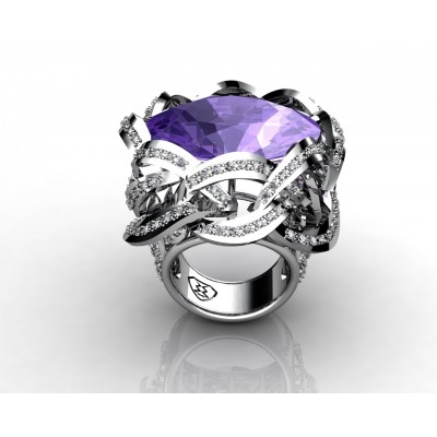 18k white gold amethyst oval shaped gemstone ring