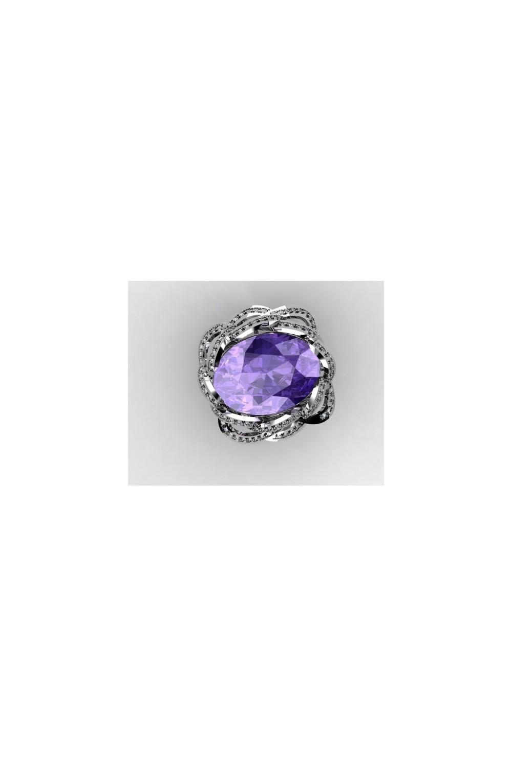18k White Gold Amethyst Oval Shaped Gemstone Ring