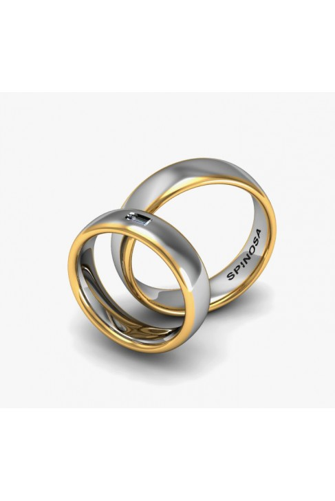 Обручальные кольца в форме половины тростника с бриллиантом багетной огранки