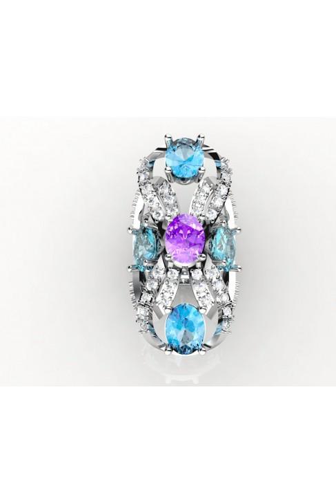 18k white gold blue topaz & amethyst gemstone ring