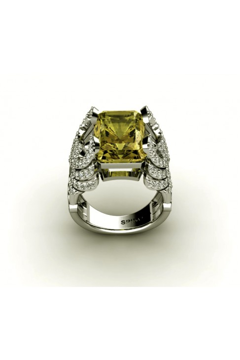 Anillo Vanguardista en Oro 18k, Brillantes y Quarzo Limon