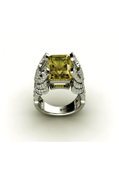 Attractive Gemstone Ring With Lemon Quartz and Diamonds