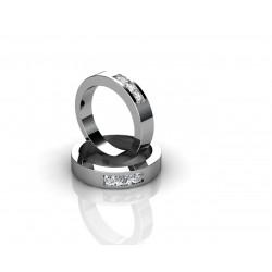 Обручальное кольцо из белого золота 18 карат инкрустированное бриллиантами