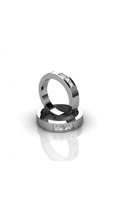 18k gold wedding ring w/ 3 encrusted brilliants