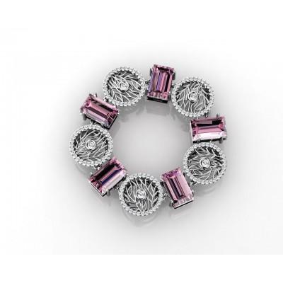 pulsera con amatistas en talla esmeralda y diamantes