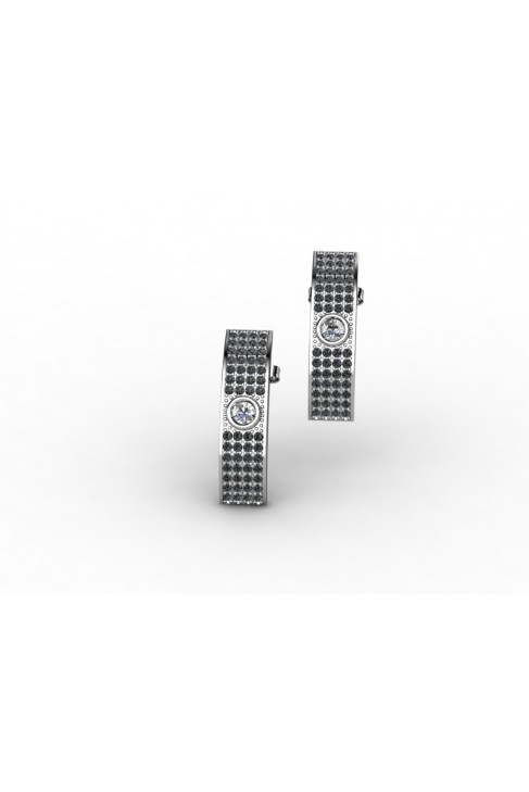 18K Black Diamond White Gold Earrings