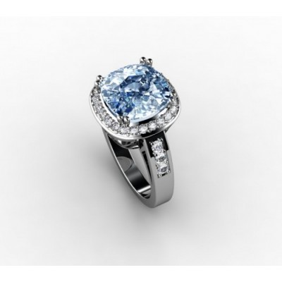 Blue Topaz Cushion Cut Designer Ring