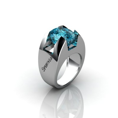 Blue Topaz Gemstone Gold Ring
