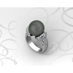 18k White Gold Black Tahitian Pearl Ring