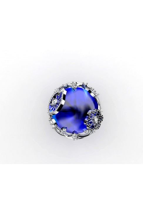 18k white gold blue topaz cushion cut gemstone ring