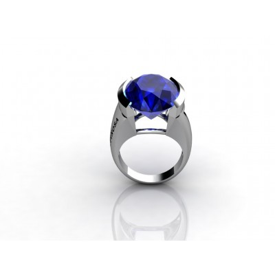 Blue Topaz Gemstone White Gold Ring