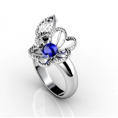 18k white gold blue topaz gemstone ring