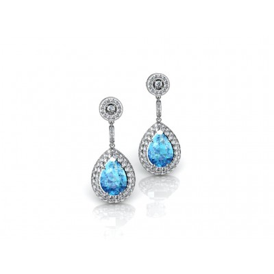 18K Blue Topaz White Gold Dangling Earrings