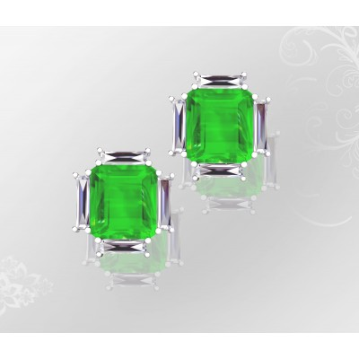 18k White Gold Colombian Emerald Earrings