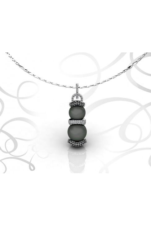 18k White Gold Double Tahitian Pearl Pendant