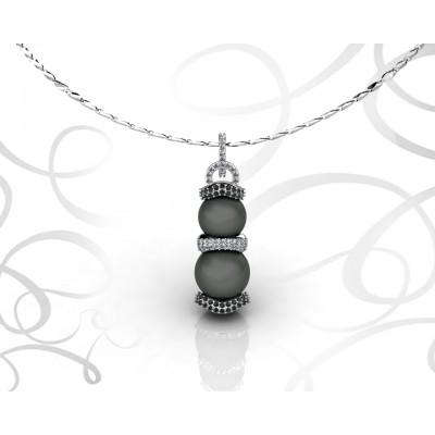 Colgante de oro blanco 18k con perlas negras