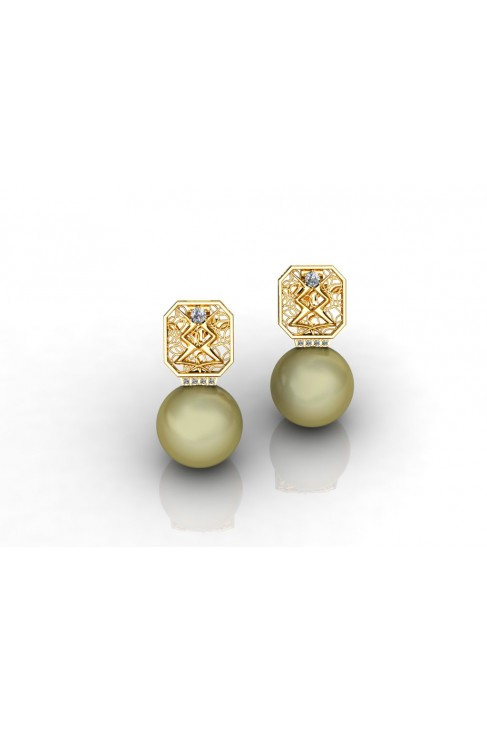 18k White Gold Earrings with Pearl and Brilliants