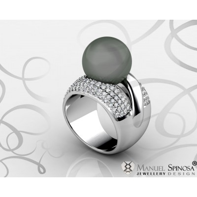 18k White Gold Grey Tahitian Pearl Ring