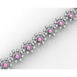 18k White Gold With Rose Quartz Flower Shaped Bracelet