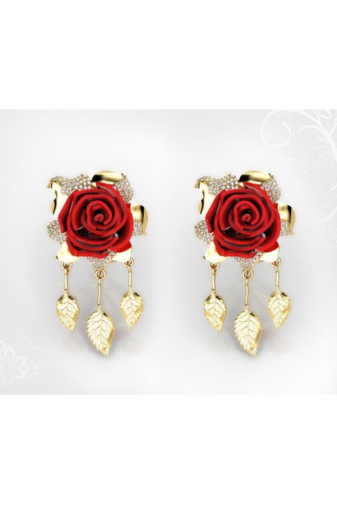 18k Yellow Gold Coral Roses Earrings