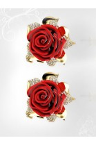 18k Yellow Gold Red Rose Coral Earrings