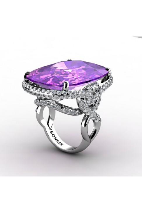 2-row gemstone ring with amethyst