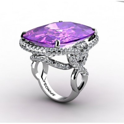 2-row gemstone ring with amethyst