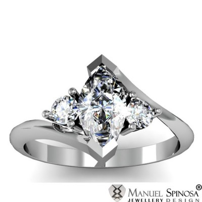 3 Stone Marquise Cut Diamond Ring