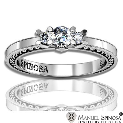 3 Stone White Gold Engagement Ring with 3 Diamonds